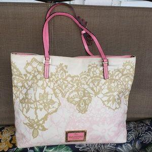 Valentino Canvas Rockstud Bow Strap Pink Tote Bag